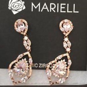 14K Rose Gold Plated CZ Chandelier Dangle Earrings